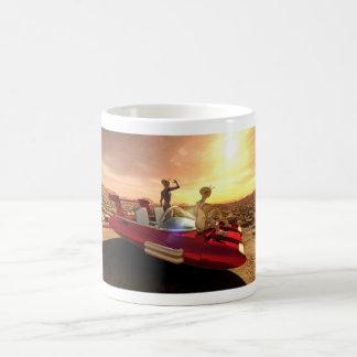 Caneca De Café Por do sol retro da ficção científica em Marte