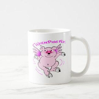 Caneca De Café Porco cor-de-rosa do vôo quando os porcos voarem