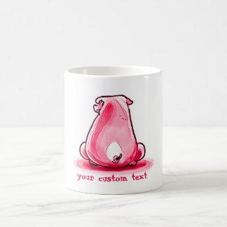 Caneca De Café porco imprudente que senta-se no assoalho