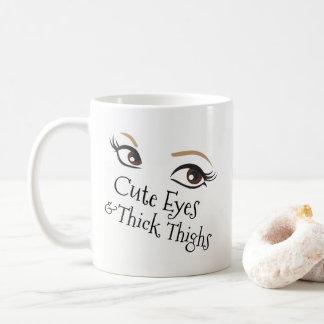 Caneca De Café Positividade grossa do corpo das coxas dos olhos
