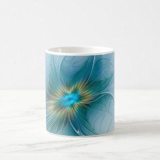 Caneca De Café Pouca flor azul moderna do Fractal do ouro da