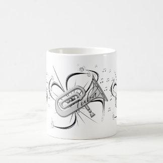 Caneca De Café Prata e notas da tuba