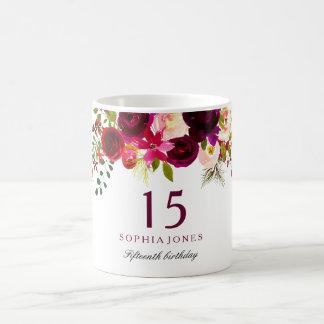 Caneca De Café Presente de aniversário floral vermelho de