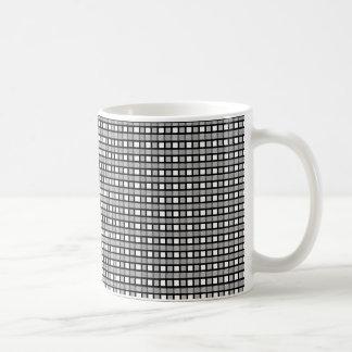 Caneca De Café Preto, branco e Weave estático de prata