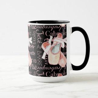 Caneca de café preto da arte do balé da bailarina