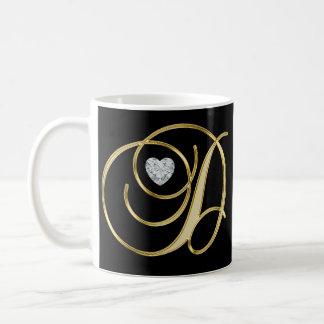 Caneca De Café Preto Monogrammed inicial elegante do ouro da