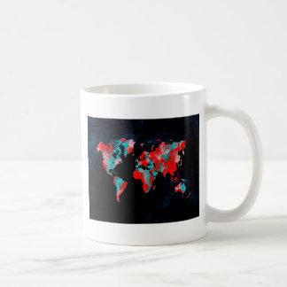 Caneca De Café preto vermelho do mapa do mundo