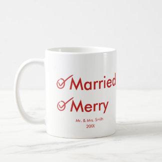 Caneca De Café Primeiro Natal casado casado e da feliz |