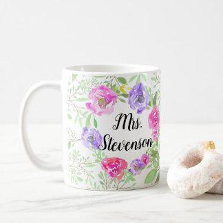 Caneca De Café Professor floral cor-de-rosa personalizado da