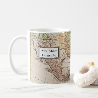 Caneca De Café Professor novo da geografia do mapa do mundo do
