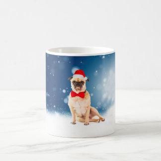 Caneca De Café Pug com o chapéu do papai noel do Natal