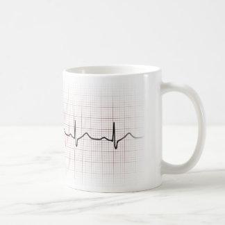 Caneca De Café Pulsação do coração no papel de gráfico, pulso de
