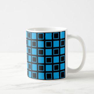 Caneca De Café Quadrados pretos e azuis
