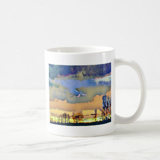 Caneca De Café Queda clara colorida céu abstrato tonificado do