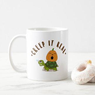"""Caneca De Café """"Rastejamento"""" riso real da abóbora da tartaruga"""