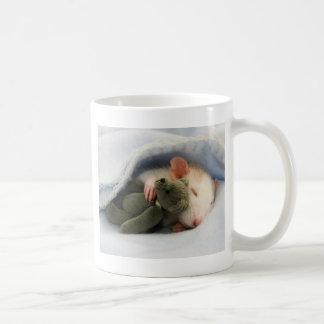 Caneca De Café rato bonito que dorme com ursinho