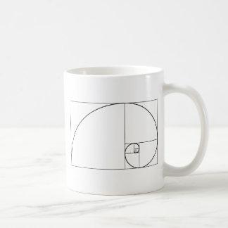 Caneca De Café Relação dourada espiral de Fibonacci