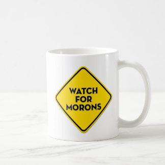 """Caneca De Café """"Relógio para sinal de aviso dos parvos"""" engraçado"""