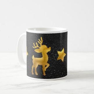Caneca De Café Rena do ouro na neve do quadro