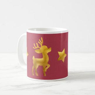 Caneca De Café Rena do ouro no papel vermelho
