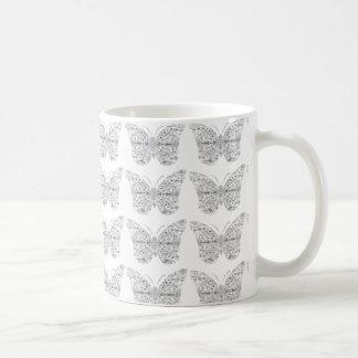 Caneca De Café Repita o copo do design da borboleta