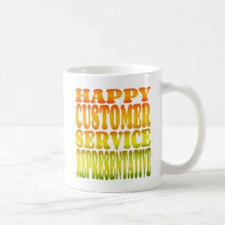 Caneca De Café Representante de serviço ao cliente feliz na luz
