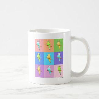 Caneca De Café Retângulos do arco-íris do Parakeet