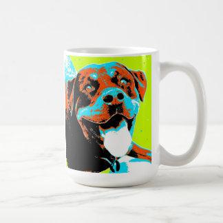 Caneca De Café Retrato brilhante e do divertimento de Rottweiler