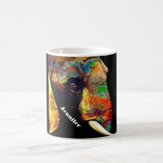 Caneca De Café Retrato colorido corajoso da cabeça do elefante