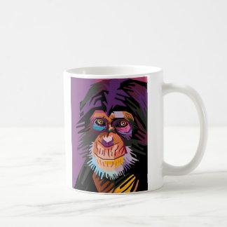 Caneca De Café Retrato colorido do macaco do pop art