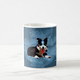 Caneca De Café Retrato da arte da aguarela do cão de border