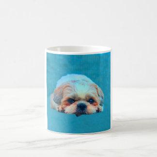 Caneca De Café Retrato da arte da cor de água do cão de Shih Tzu