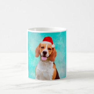 Caneca De Café Retrato do chapéu do papai noel do Natal do cão do