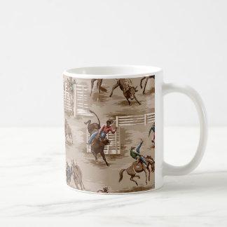Caneca de café retro do vaqueiro do rodeio do