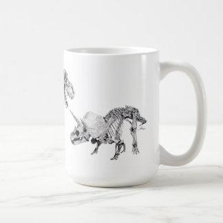 Caneca De Café Rex e Triceratops do tiranossauro