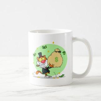 Caneca De Café Rolamento feliz do tigre no dinheiro
