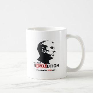 Caneca De Café Ron Paul enfrenta o estêncil - revolução