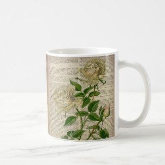 Caneca De Café rosa branco do victorian botânico francês da arte