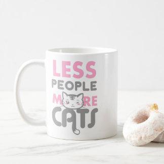 Caneca De Café Rosa cinzento adorável menos pessoas mais gatos