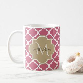 Caneca De Café Rosa cor-de-rosa Tan Quatrefoil do monograma