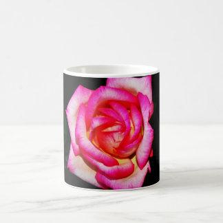Caneca De Café Rosa do rosa quente no copo de café preto/caneca