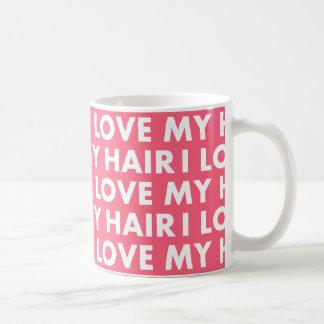 Caneca De Café Rosa eu amo meu entalhe do texto do cabelo