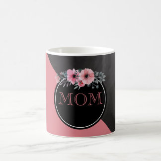 Caneca De Café Rosa floral do quadro do dia das mães | do