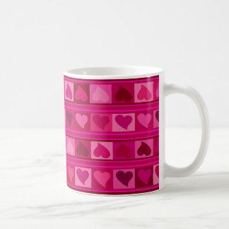 Caneca De Café Rosa Funky do fuschia de Mozaic | dos corações e