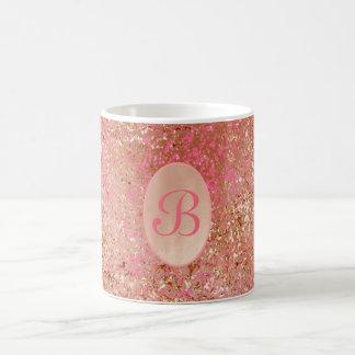 Caneca De Café Rosa quente do ouro cor-de-rosa customizável do