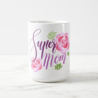 Caneca De Café Rosas super do acento da mamã da aguarela