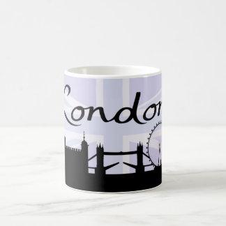 Caneca De Café Roteiro de Londres no céu de Union Jack & locais