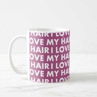 Caneca De Café Roxo eu amo meu entalhe do texto do cabelo
