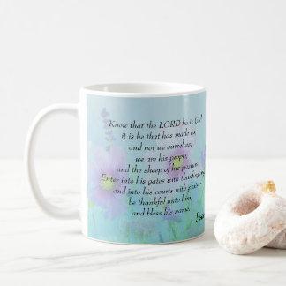 Caneca De Café Saiba que o senhor é deus, 100:3,4 dos salmos