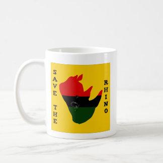 Caneca De Café Salvar o rinoceronte com amarelo do rasgo de